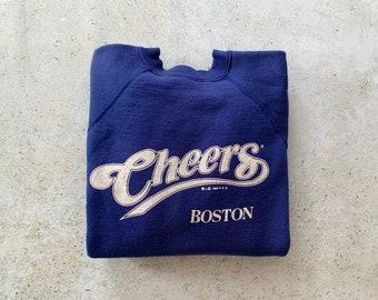 Vintage Sweatshirt   CHEERS BOSTON Raglan Pullover Top Shirt Sweater 80's   Size S/M