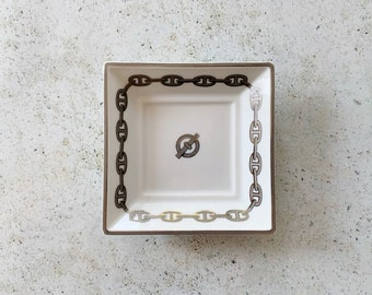 Vintage Dish | HERMÈS Paris Logo Monogram Porcelain Chain Link Trinket Catch-all Dish Plate Bowl White Silver 80's 90's