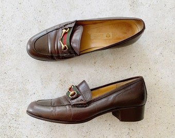 Vintage Shoes | GUCCI Horsebit Leather Loafers Brown Classic 80's | Size 36.5 EU / 6 - 6.5 US