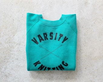 Vintage Sweatshirt | VARSITY Knitting Team Pullover 80s 90s Teal Blue Green | Size M