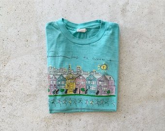 Vintage T-Shirt | SAN FRANCISCO 80s Running Bay to Breakers Marathon Paper Thin Shirt Mint Blue Green | Size M