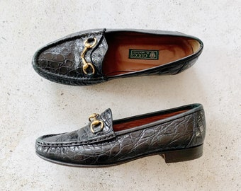 Vintage Shoes | GUCCI Horsebit Loafers Crocodile Leather Slides Mules 80s Black Green Brass | Size 37.5 EU / 7 - 7.5 US