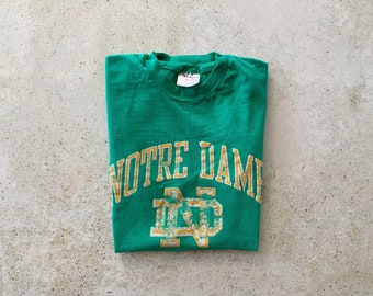 Vintage T-Shirt | NOTRE DAME University College Top Shirt Pullover 80's Green Yellow | Size M