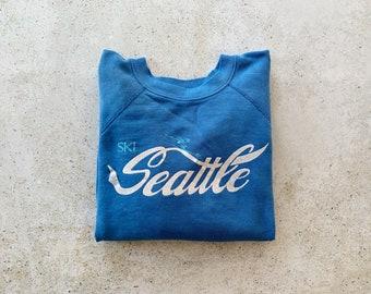 Vintage Sweatshirt | SKI SEATTLE Winter Snow Mountain 80's 90's Raglan Pullover Top Shirt Sweater Blue | Size M/L