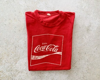 Vintage T-Shirt | COCA-COLA Coke Pullover Top Shirt Graphic Tee 80's 90's Red White | Size S/M