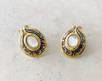Vintage Earrings | FENDI Zucca Logo Monogram FF Statement Earrings Pierced Studs Gold Gemstone