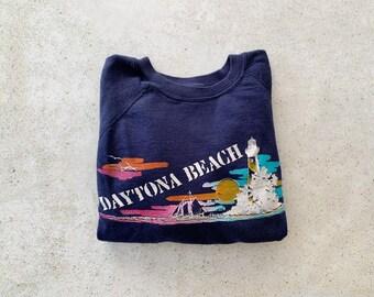 Vintage Sweatshirt | DAYTONA BEACH Coastal Nautical Ocean Sailing Raglan Pullover Top Shirt Sweater 80's Navy Blue | Size XS/S