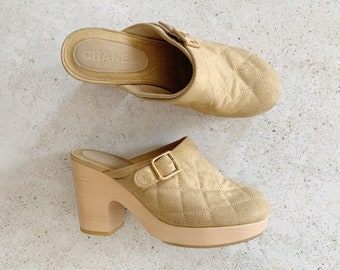 Vintage Shoes | CHANEL Quilted Metallic Gold Suede Leather Clogs Mules Slides | Size 39 EU / 8.5 - 9 US