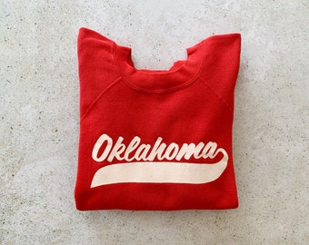 Vintage Sweatshirt | OKLAHOMA Raglan Pullover Top Shirt Sweater 80's Red | Size M