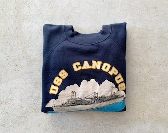 Vintage Sweatshirt   NAVY USS Canopus 80's Military Raglan Pullover Top Shirt Sweater Navy Blue   Size S/M