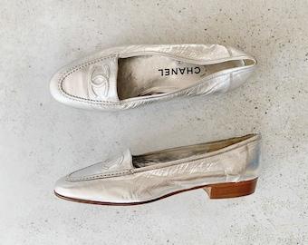 Vintage Shoes | CHANEL Logo Loafers Metallic Silver 90's | Size 39 EU / 8 - 8.5 US