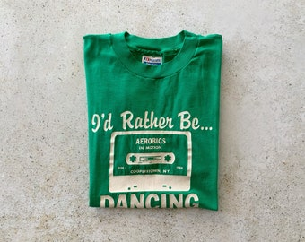 Vintage T-Shirt | DANCE Aerobics Ballet 80's Top Shirt Pullover Faded Distressed Green | Size M