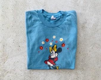 Vintage T-Shirt | MINNIE MOUSE Disney Cartoon Graphic Tee Top Shirt Pullover Blue | Size S / M