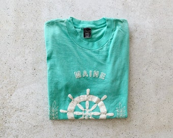 Vintage T-Shirt | MAINE Coastal Nautical Beach Shirt Top Green Blue | Size S
