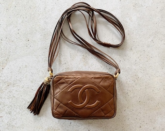 Vintage Bag | CHANEL CC Logo Leather Lambskin Quilted Purse Shoulder Crossbody Camera Bag Brown Bronze Gold