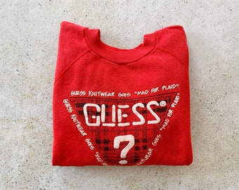 Vintage Sweatshirt | LOGO 80s Raglan Pullover Top Shirt Sweater Streetwear Red | Size S/M