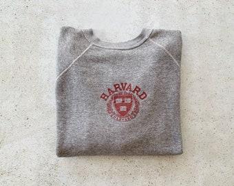 Vintage Sweatshirt | HARVARD University College Raglan Pullover Top Shirt Sweater Gray 70's 80's | Size M