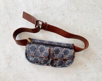Vintage Bag | CELINE Paris Macadam Belt Waist Bag Denim Blue