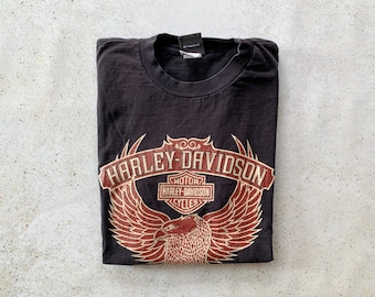 Vintage T-Shirt   HARLEY DAVIDSON Motorcycle Tee Top Shirt Pullover Bird Eagle Feathers Black   Size L/XL