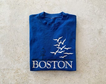 Vintage T-Shirt | BOSTON Top Shirt Pullover Blue | Size L