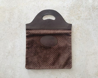 Vintage Bag | GUCCI 70's Monogram Logo Satchel Document Handbag Leather Velour Brown