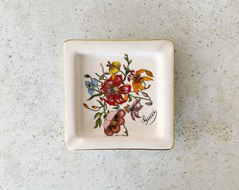 Vintage Dish | GUCCI Tray Ashtray Trinket Dish Porcelain Floral Flora 80's