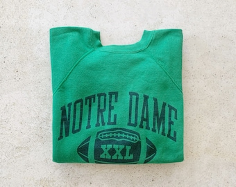 Vintage Sweatshirt | DOTRE DAME Football College University Raglan Pullover Jumper Green | Size M