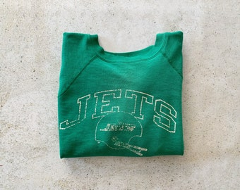 Vintage Sweatshirt | JETS Raglan Pullover Top Shirt Sweater NFL Football Distressed Streetwear Green White | Size S