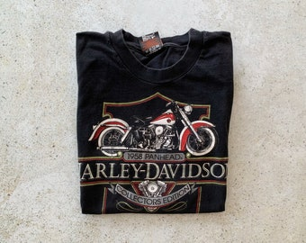 Vintage T-Shirt | HARLEY DAVIDSON Motorcycle Top Shirt Graphic Tee Wisconsin Black 90's | Size M