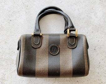 Vintage Bag | FENDI Pequin Stripe 80s Coated Canvas Satchel Shoulder Crossbody Purse Neutral Brown Tan