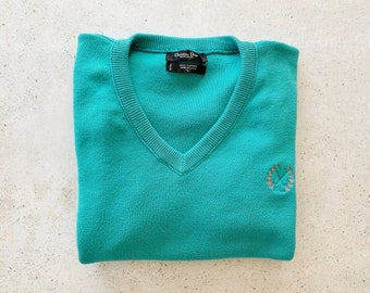 Vintage Sweater | DIOR Knit Pullover V-Neck Sweater Cotton Logo Monogram 90's Blue Green Teal | Size L