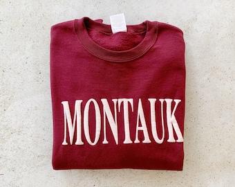 Vintage Sweatshirt | MONTAUK Pullover Sweatshirt Sweater Beach Coastal Red Pink White | Size S