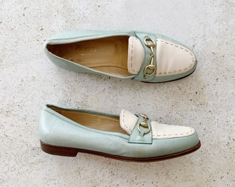 Vintage Shoes | GUCCI Horsebit Leather Loafers Two Tone Stitched Blue White Cream | Size 35.5 EU / 5 - 5.5 US