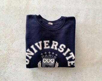 Vintage Sweatshirt | UNIVERSITE PARIS Sorbonne Pullover Top Shirt Sweater Black 80's | Size L
