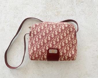 Vintage Bag | DIOR 80's Monogram Logo Trotter Canvas Shoulder Bag Red Burgundy Wine