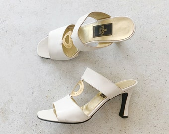 Vintage Shoes   FENDI Roma Mules Slides Sandals Heels White Gold Wedding Bridal   Size 8 US