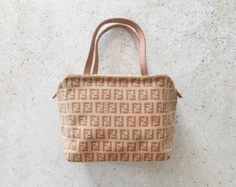 Vintage Bag | FENDI Zucca Zucchino FF Monogram Logo Satchel Purse Bag Pink Tan Beige