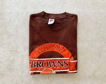 Vintage T-Shirt | CLEVELAND BROWNS Football Pullover Shirt 80's 90's Brown Orange | Size M