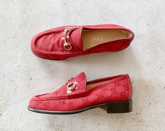Vintage Shoes | GUCCI GG Logo Monogram Horsebit Loafers Canvas Red | Size 5.5 US