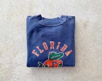 Vintage Sweatshirt   FLORIDA GATORS Football Sports Short Sleeve Raglan Pullover Top Shirt Sweater Blue Orange 80's   Size M