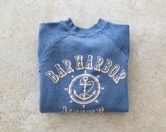 Vintage Sweatshirt   BAR HARBOR MAINE Raglan Pullover Top Shirt Sweater Coastal Nautical Beach 80's 90's Blue   Size M/L