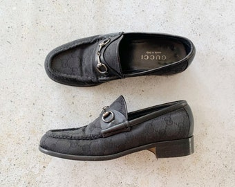 Vintage Shoes | GUCCI Monogram Logo Horsebit Canvas Loafers Black Silver | Size 6.5 US