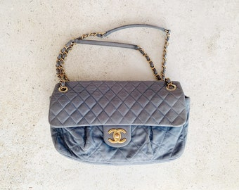 Vintage Bag | CHANEL Quilted Leather Lambskin CC Logo Handbag Purse Chain Strap Blue