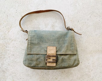 Vintage Bag | FENDI Mamma Baguette Denim Chambray Lizard Reptile Shoulder Bag