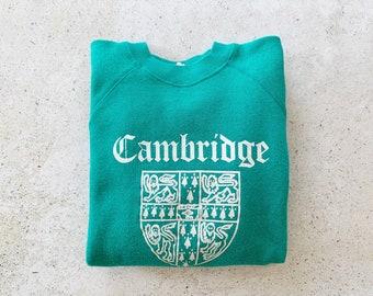 Vintage Sweatshirt | CAMBRIDGE UNIVERSITY Sweatshirt College Collegiate 80's Raglan Pullover Teal Blue Green Streetwear | Size S
