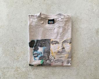 Vintage T-Shirt | U2 90's Rock Band Concert Tour Top Shirt Pullover Gray | Size M/L