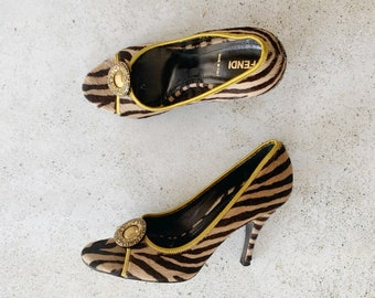 Vintage Shoes | FENDI Calf Hair Animal Print Pumps Heels Neutral | Size 37.5 EU / 7 - 7.5 US