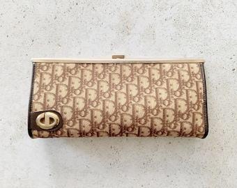 Vintage Bag | DIOR Monogram Logo Frame Clutch Evening Bag Brown Tan Beige