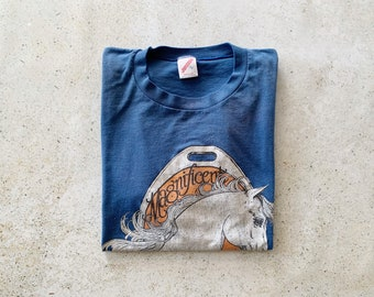 Vintage T-Shirt | UNICORN 80's Graphic Pullover Top Shirt Faded Distressed Blue | Size L
