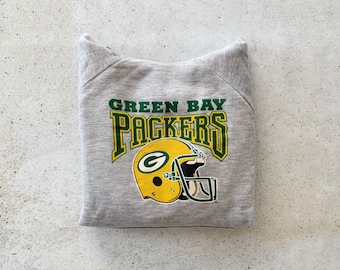 Vintage Sweatshirt | GREEN BAY PACKERS Hooded Top Pullover Raglan Shirt Sweater Hoodie California Football Gray Green | Size S